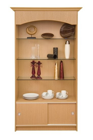 Loxley Sliding Door Unit with 3 Glass Shelves & Storage