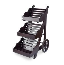 Dark 3 Tier Wooden Display Cart