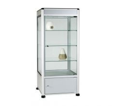 UB12 - 3/4 Display Tower Showcase with Header Panel and Storage