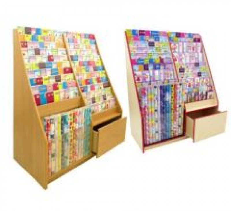 13 Tier Card Rack with Stock Drawer & Gift Wrap Roll Display