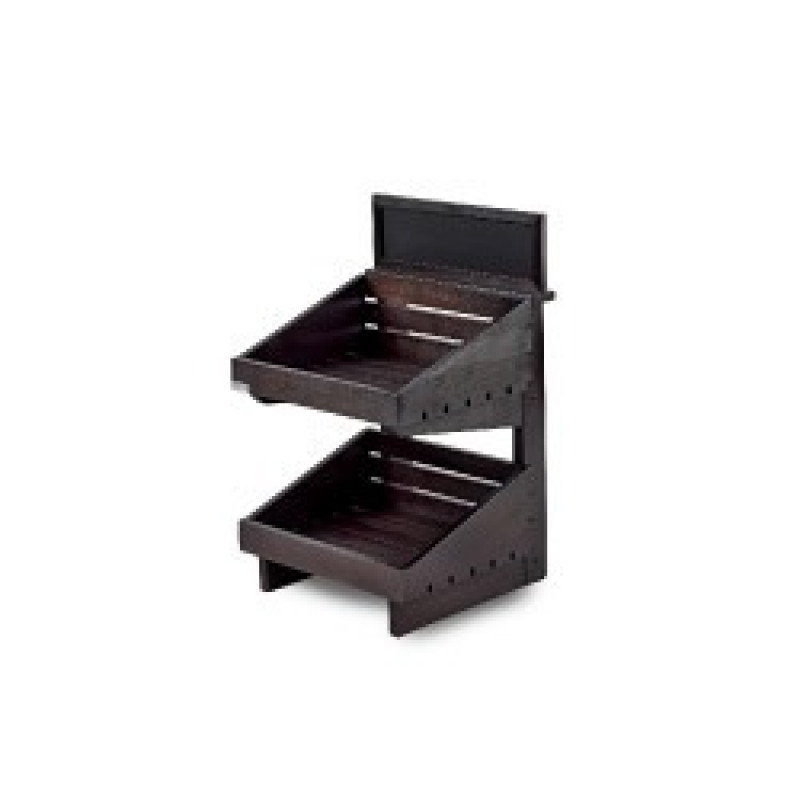 Dark 2 tier wooden counter top stand