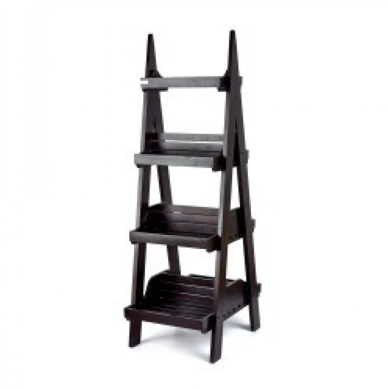 Dark Double Sided 4 Tier Display Stand