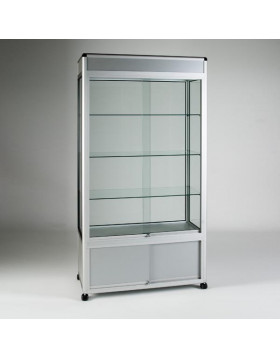 UB15 - 3/4 Display Tower Showcase with Header Panel and Storage